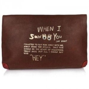"Paris House Envelope Bag ""Hey"" Cioccolato Rosso"