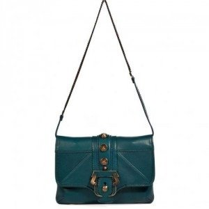 Paula Cademartori Petrol Leather Mini Sylvie Clutch