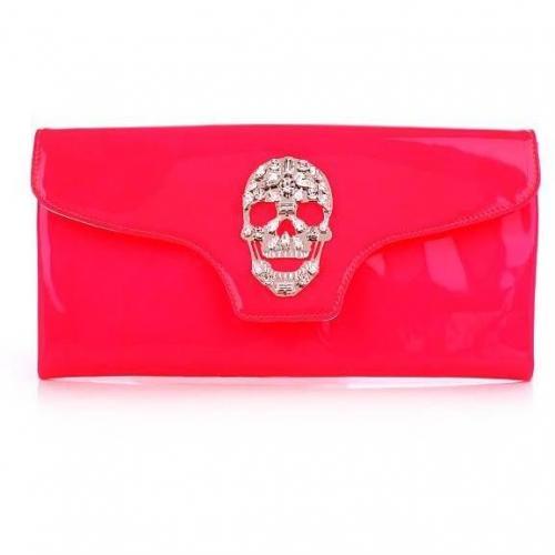 Philipp Plein Clutch Crazy Skull Neon Pink