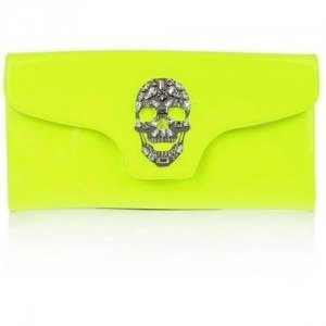 "Philipp Plein Clutch ""Crazy Skull"" Neon Yellow"