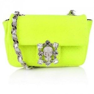Philipp Plein Python Diamond Baby Bag Neon Green