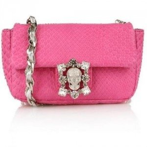 Philipp Plein Python Diamond Baby Bag Pink