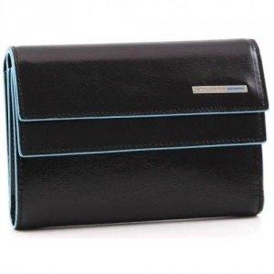 Piquadro Blue Square Geldbörse Damen Leder schwarz 14 cm