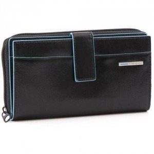 Piquadro Blue Square Geldbörse Leder schwarz 17,5 cm