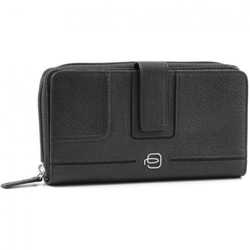 Piquadro Vibe Geldbörse Damen Leder schwarz 17,5 cm