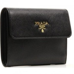 Prada Saffiano Geldbörse schwarz 13 cm