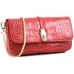 Roberto Cavalli Class Perla Clutch Leder rot 20,5 cm