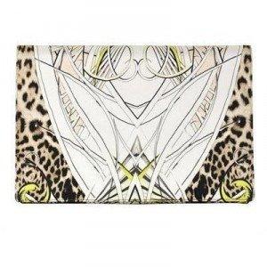 Roberto Cavalli Maxi-Clutch aus Bedruckter Seide mit Leopard-details
