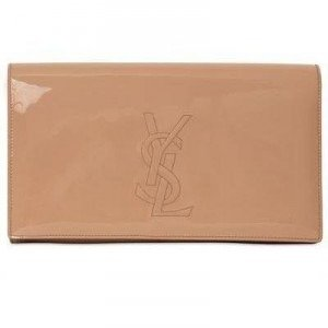 Saint Laurent Belle de Jour Clutch aus Lackleder brown