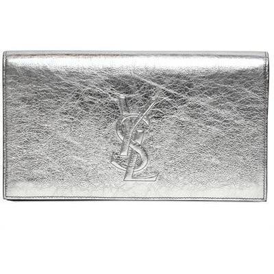 Saint Laurent Belle de Jour Clutch aus Metallischem Leder