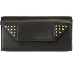 Saint Laurent Betty Clutch aus Poliertem Leder mit Goldnieten