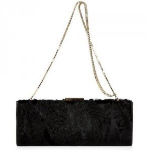 Salvatore Ferragamo Black Persian Lamb Clutch