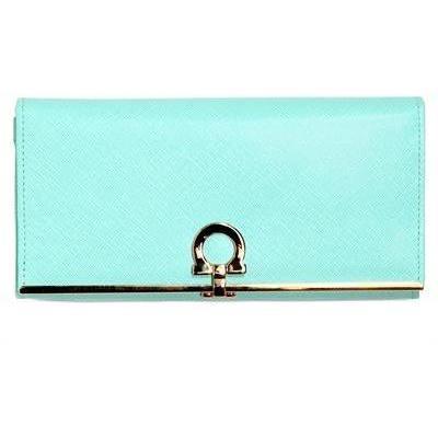 Salvatore Ferragamo Gancini Brieftasche aus Saffianoleder hellblau