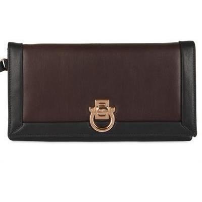 Salvatore Ferragamo Logo Gefaltete Brieftasche schwarz