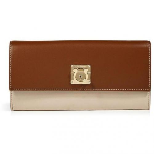 Salvatore Ferragamo Nougat/Bone Leather Wallet