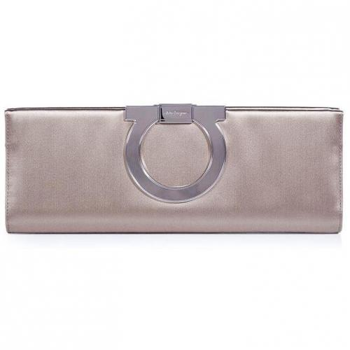 Salvatore Ferragamo Opal Grey Musa Clutch