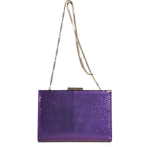 Salvatore Ferragamo Purple and Orange Python and Leather Layla Clutch