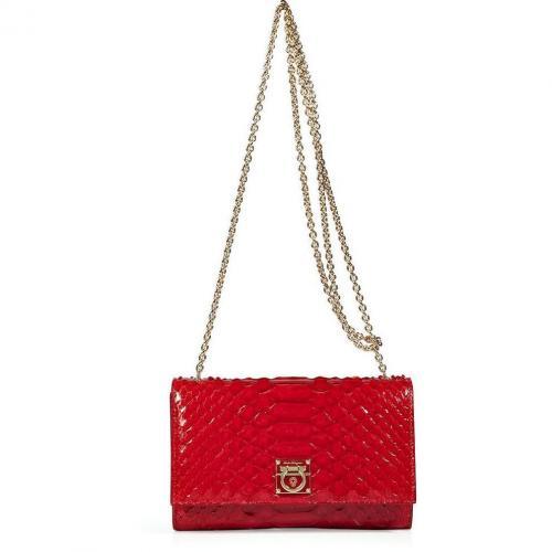 Salvatore Ferragamo Red Python Leather Clutch