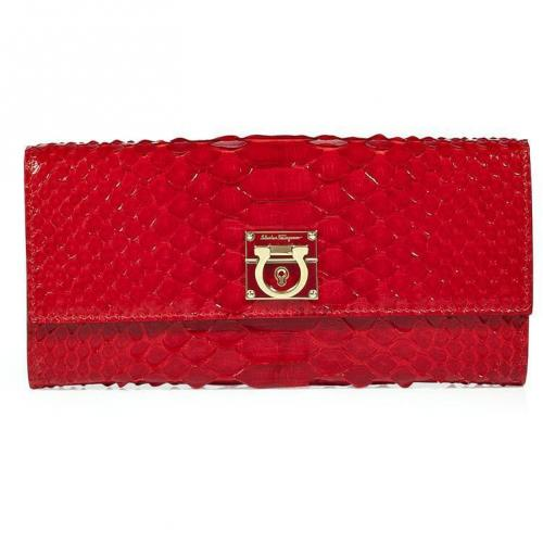 Salvatore Ferragamo Red Python Leather Wallet