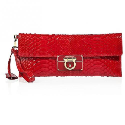Salvatore Ferragamo Red Python Wristlet Clutch