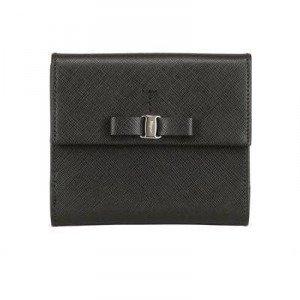 Salvatore Ferragamo Saffiano Leder Französische Brieftasche & Schleife