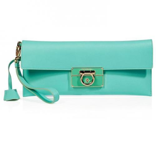 Salvatore Ferragamo Turquoise Leather Afef Clutch
