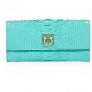 Salvatore Ferragamo Turquoise Python Leather Wallet