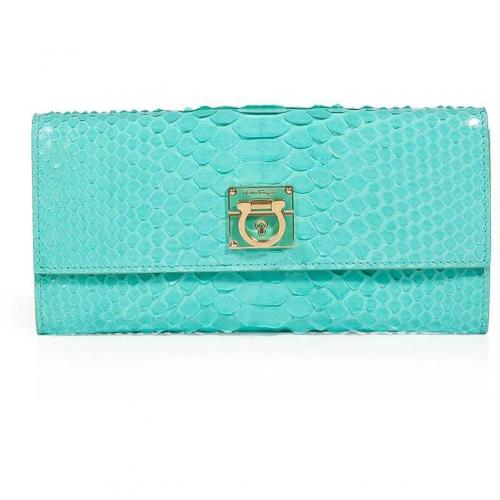 Salvatore Ferragamo Turquoise Python Leather Wallet