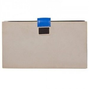 Sara Battaglia Blue Leather Mirrored Metal Veruschka Clutch