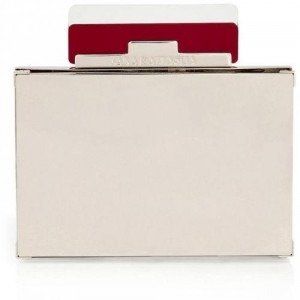 Sara Battaglia Red/Mirrored Metal Box Clutch