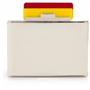 Sara Battaglia Yellow/Red/Mirrored Metal Box Clutch