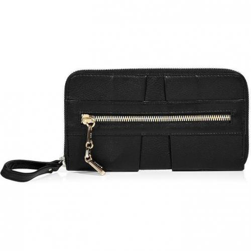 See by Chloé Black Pleated Leather Zip-Around Wallet