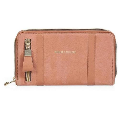 See by Chloé Tonal Cinnamon Leather Zip-Around Wallet