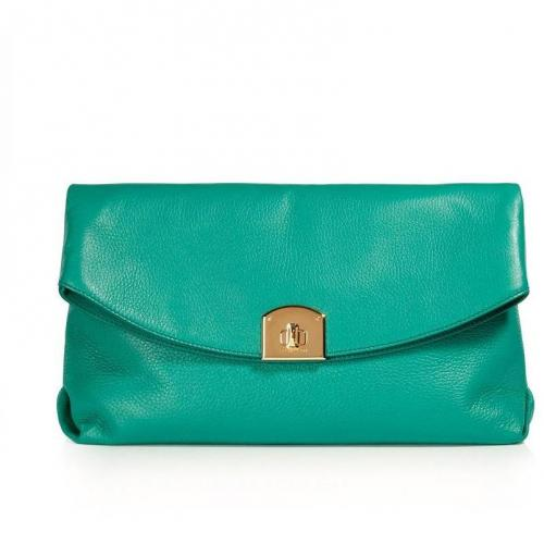 Sergio Rossi Emerald Green Leather Clutch