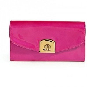 Sergio Rossi Pearly Hot Pink Patent Leather Clutch