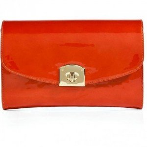 Sergio Rossi Pearly Paprika Patent Leather Clutch