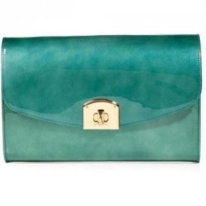 Sergio Rossi Pearly Turquoise Patent Leather Clutch