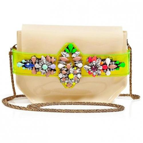 Shourouk Crystal Embellished PVC Napa Clutch with Shoulder Strap
