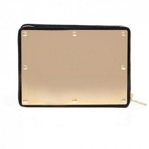 Sophie Hulme Navy Leather/Gold-Toned Brass Box Clutch
