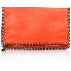 Stella McCartney Falabella Shagder Fover Zip Clutch Orange