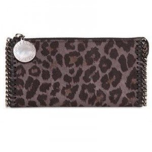 Stella Mccartney Leopard Druck Faux Wildleder Brieftasche