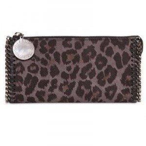 Stella Mccartney Leopard Druck Faux Wildleder Brieftasche