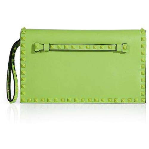 Valentino Pop Apple Leather Tonal Rockstud Clutch