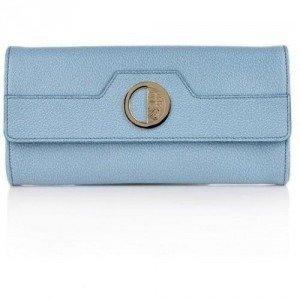 Versace Collection Borsa Clutch Vitello Stampa Cinghiale Celeste/Oro