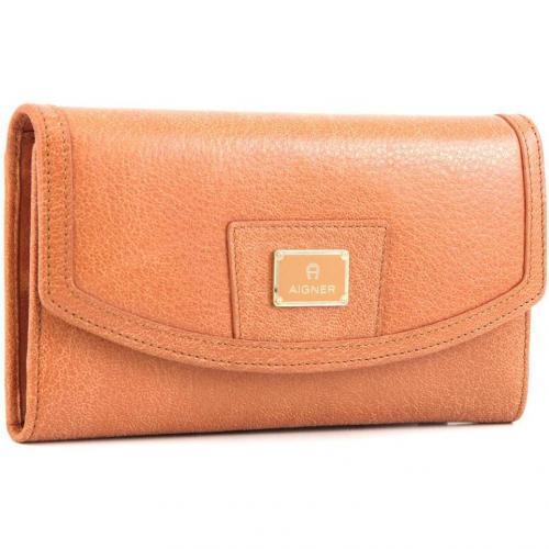 Cache-Cache Geldbörse Damen Leder hellbraun 18,5 cm von Aigner