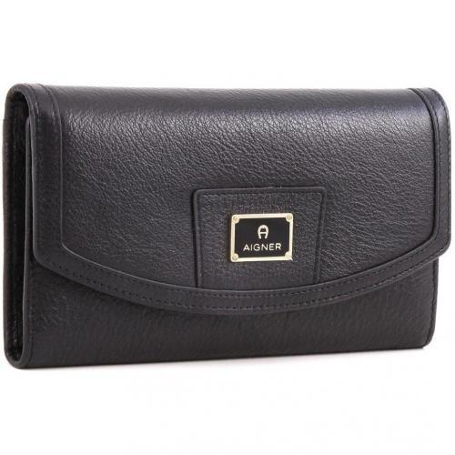 Cache-Cache Geldbörse Damen Leder schwarz 18,5 cm von Aigner