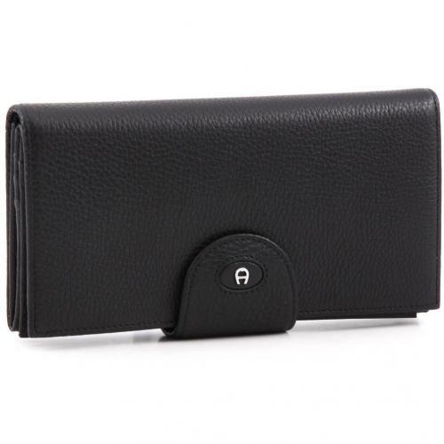 Classic Geldbörse Damen Leder schwarz 19 cm von Aigner
