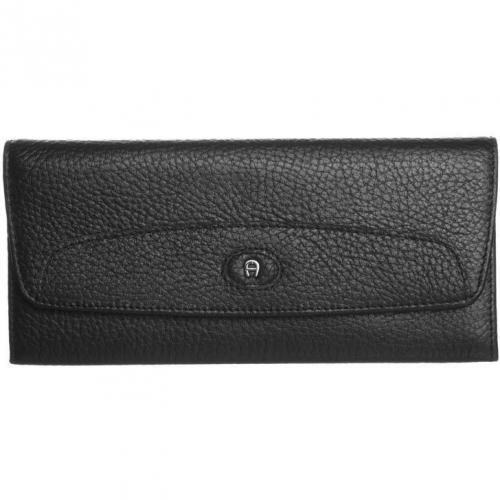 Geldbörse black aus fein genarbtem Leder von Aigner