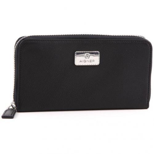 Zip Up Geldbörse Damen Leder schwarz 19 cm von Aigner