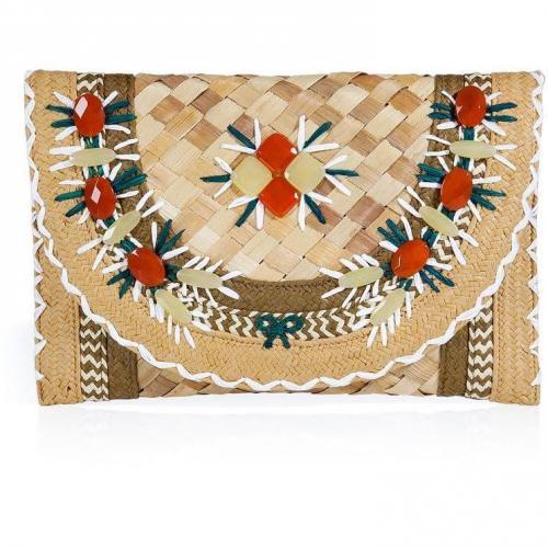 Natural Gem Embellished Straw Clutch Ipanema von Anya Hindmarch